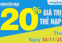 Khuyến mãi nạp tiền vinaphone tặng 20% giá trị thẻ nạp ngày 30/11/2018