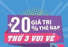 Vinaphone khuyến mãi ngày 15/1/2019 tặng 20% giá trị thẻ nạp