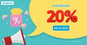 VinaPhone khuyến mãi 20% nạp thẻ ngày 08/10/2021